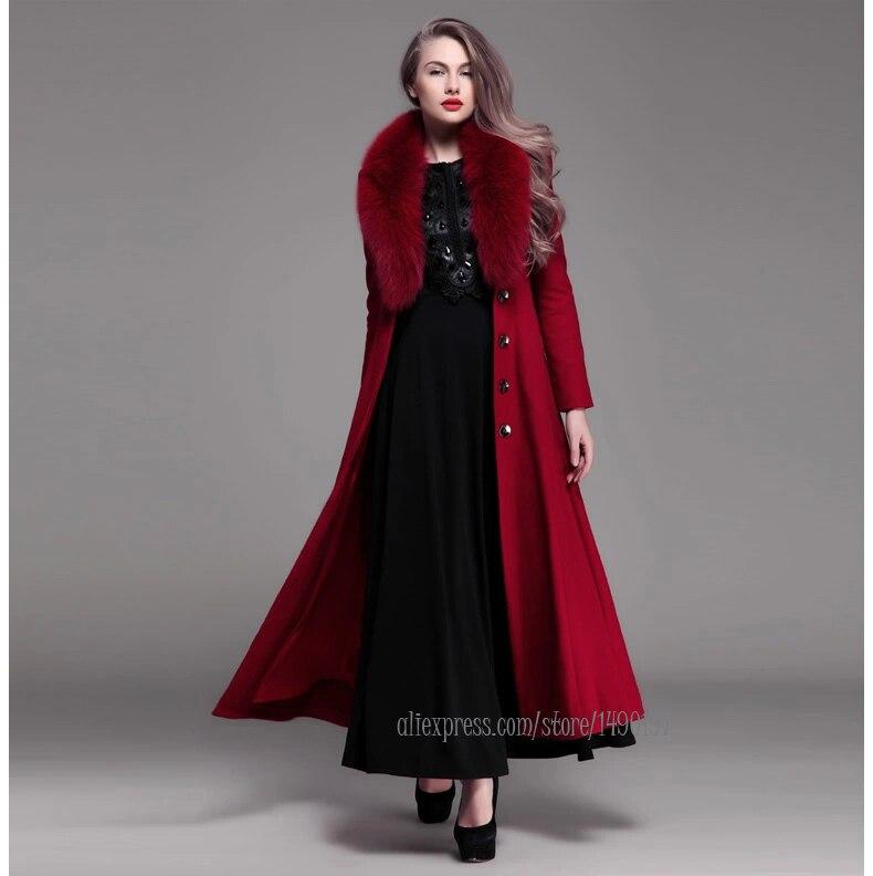 Women winter coat 2014 new Burgundy wool thicken maxi coat fox fur ...