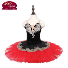 Girls Black Ballet Tutu Apperal  Children Performance Stage Wear Kids Red Professional Dance Costumes Women Skirt