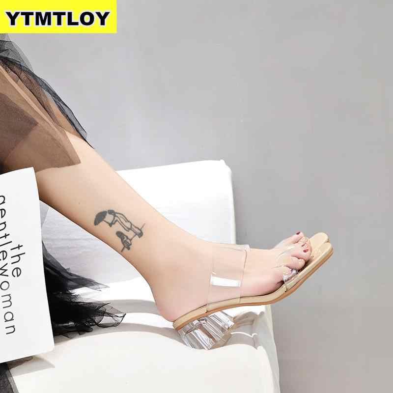 חם ברור עקבים כפכפים נשים סנדלי קיץ נעלי אישה שקוף גבוהה משאבות חתונת ג 'לי Buty Damskie סקסי כיכר עקבים