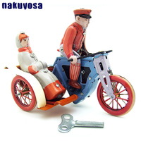 Collection Retro Wind Up Tin Toy Metal Man Clockwork Toy Riding Tricycle Mechanical Toy Figures Model Kids Gift