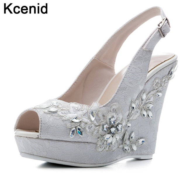 6989eee023dd5c Kcenid White lace wedding shoes new fashion crystal design high heels sweet bride  dress shoes woman sexy peep toe wedge sandals