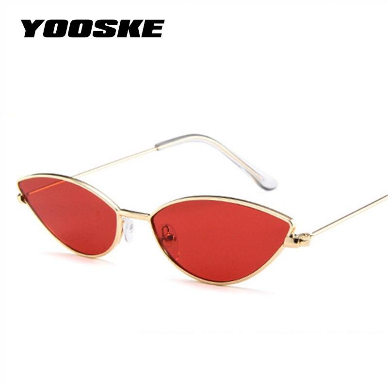 YOOSKE Sexy lindo gato ojo gafas de sol mujer 2018 Retro pequeño negro rojo rosa Cateye gafas de sol mujer Vintage Shades para mujeres