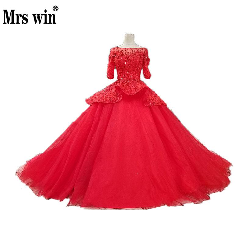 Classic Red Ball Gowns Dream Princess Marriage Tiered Half Sleeve Lace Beading Open Back Formal Wedding Dress Quality CustomizeC
