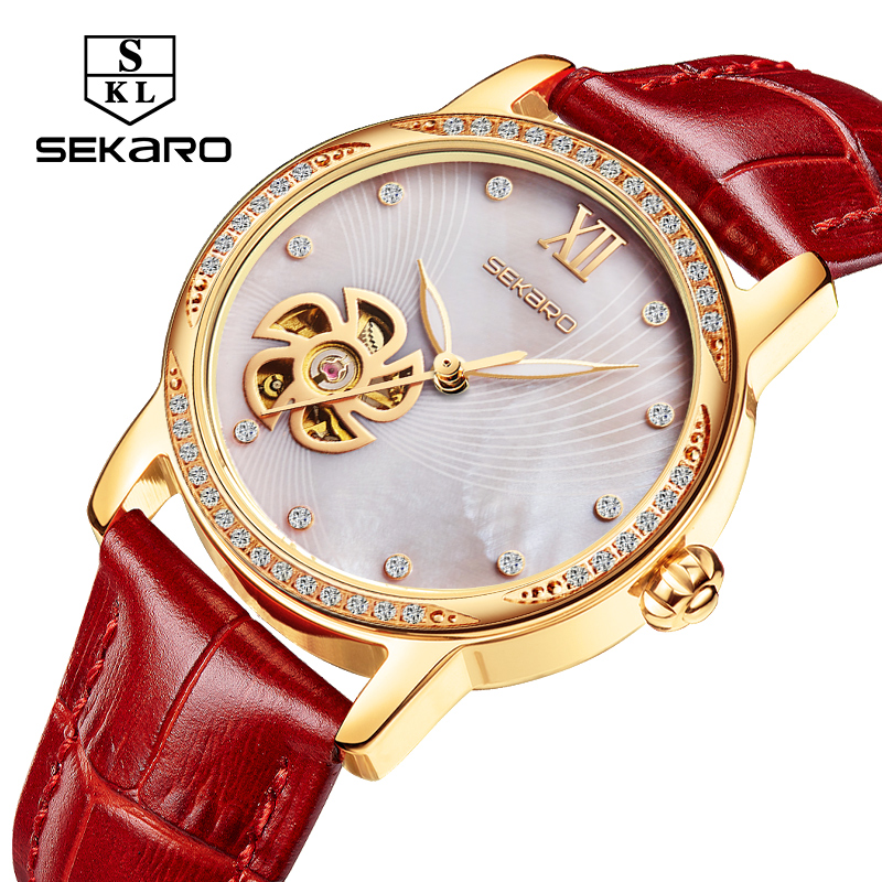 SEKARO chanceux fleur femmes montres en cuir dame brillant robe montre squelette montre femmes horloge femmes montre mécanique Gif