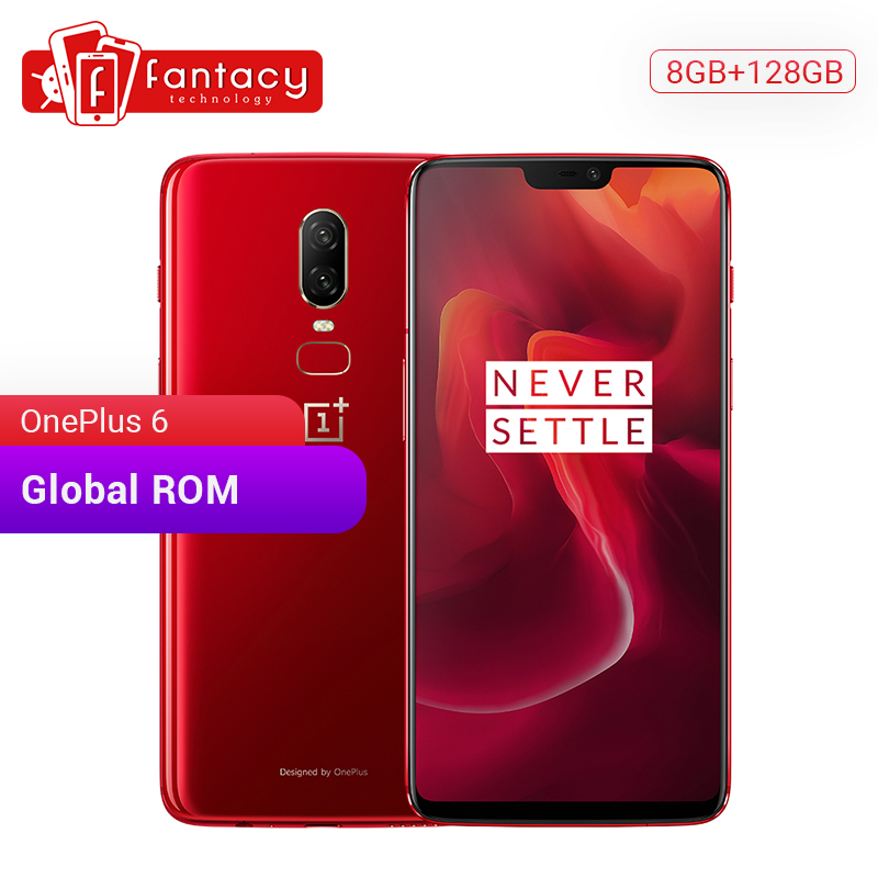 Original OnePlus 6 8GB 128GB Snapdragon 845 Octa Core 6.28'' FHD 20MP+16MP AI Dual Camera Face ID OxygenOS Smartphone NFC