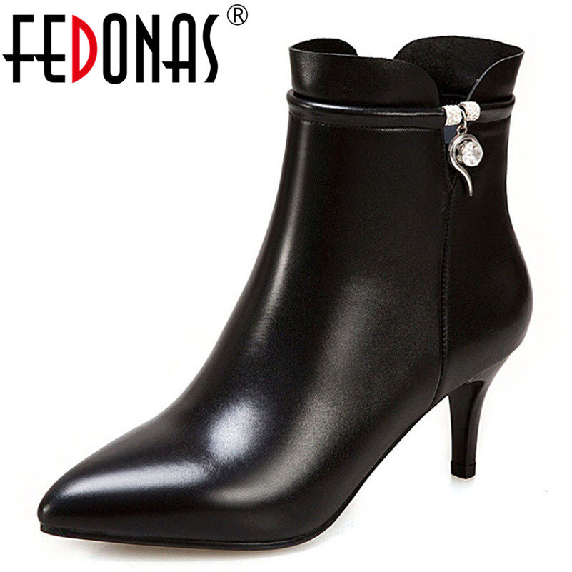 FEDONAS Basic Ankle Boots For Women High Heels Rhinestone Party Wedding Shoes Woman Zipper Warm Autumn