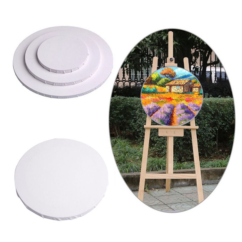 White Blank Panels Round Canvas Board Wooden Frame Art Artist Painting Crafts C26 ...