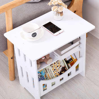 Simple White Bedside Small Table Plastic Tea Coffee Table For