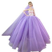 NK Doll Dress High quality Handmade Long Tail Evening Gown Clothes Lace  Wedding Dress +Veil For Barbie 1 6 Doll Best Gift 009A ade76e43b1ae
