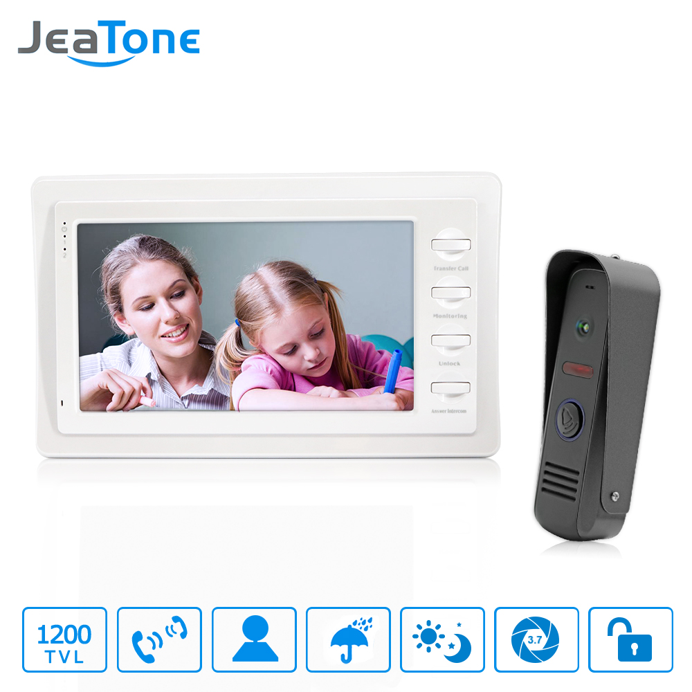 JeaTon 7 White Color HD Video Doorphone Door Entry Intercom Systems 1200TVL Outdoor Doorbell Camera 1