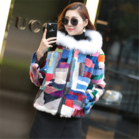 2017 new women mink fur color hooded coat fox fur collar mink casual version fur coat