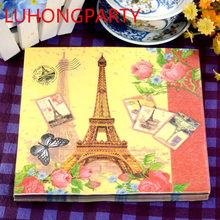 2 packs FOOD GRADE Eiffel Tower pattern Napkin 100% Virgin Wood Tissue for Party Decoration Paper placemat цена и фото