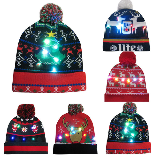 b86bada0a21db Merry Christmas women men adult caps 25 color LED Light-up Hat Knitted Ugly  Sweater