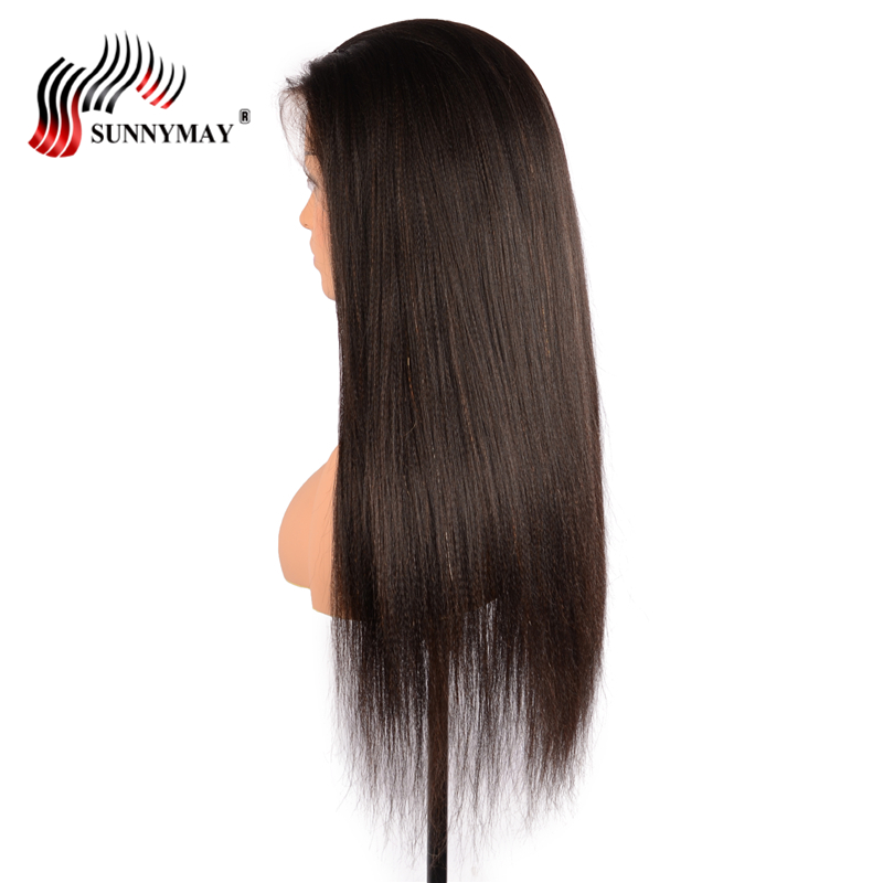 Sunnymay Yaki Straight Full Lace Human Hair Wigs Brazilain Virgin Hair Lace Wigs With Baby Hair Pre Plucked For Black Woman
