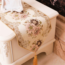 Boreal Europe style table runner rose gold home Table flag lace pastoral embroidery sequin monstera