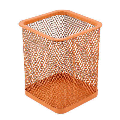 Orange Metal Cube Mesh Design Pen Pencil Eraser Holder Container