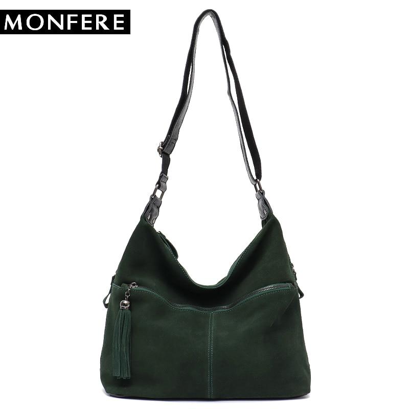 MONFERE Big Women Real Split Suede Leather Tote Bag Vintage Front Pocket Top-handle Bags Lady Casual Cross body Shoulder Handbag цены онлайн