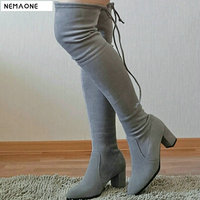 ONLY TRUE LOVE Leather Women Stretch Slim Thigh High Boots Sexy Fashion Over The Knee Boots