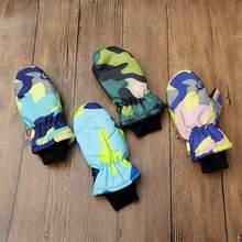 1 пара, модные зимние водонепроницаемые теплые варежки из мягкой искусственной кожи, прочные детские лыжные перчатки для мальчиков и девочек