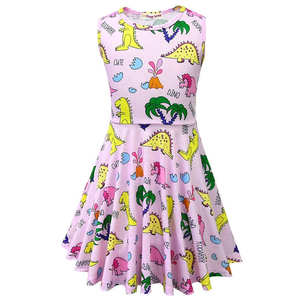 Toddler Kids Baby Girls Sleeveless Cartoon Dinosaur Print Sundress Dress Clothing Set Outfits
