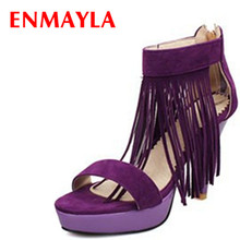 ENMAYER size 34-43 Hot  new High quality high heels women sandals tassle suede platform 3 colors summer wedding shoes woman