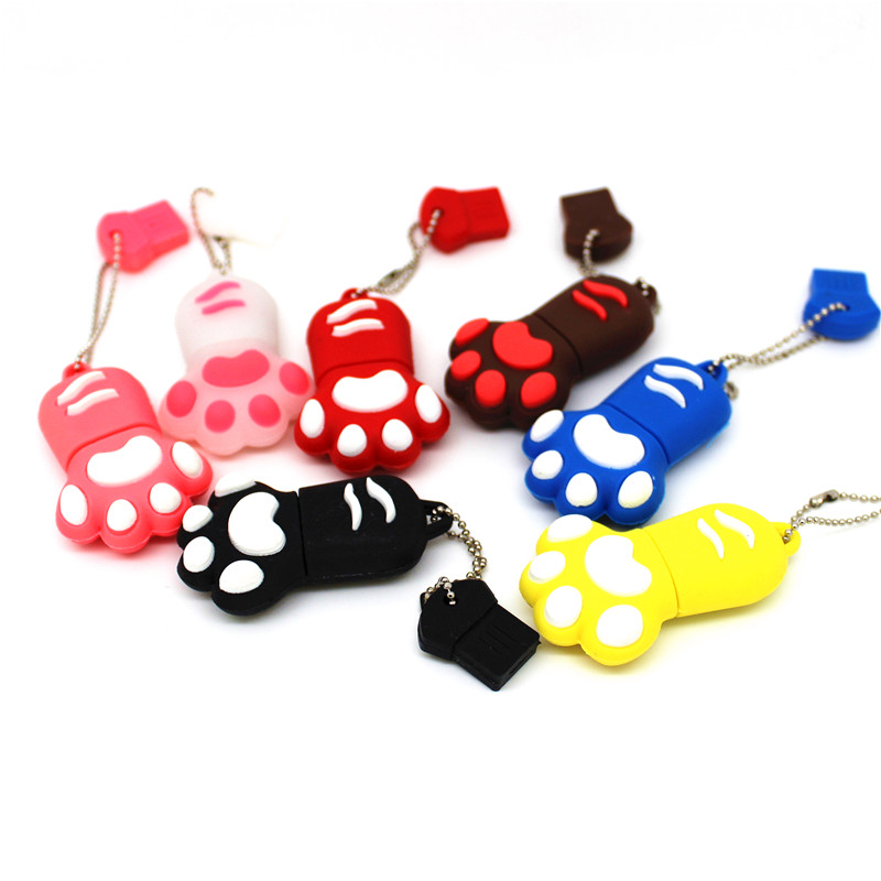 Cute Lovely Cat/Bear Claw Claw USB 2.0 Flash Drive 64gb 32gb Pendrive 8gb 16gb Memory Stick 4gb Pen Drive U Disk