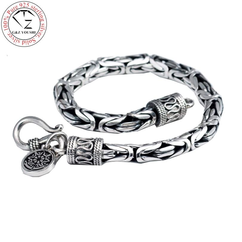 925 silver man s925 sterling silver bracelet men jewelry vintage style bangle minecraft pulseira masculina european