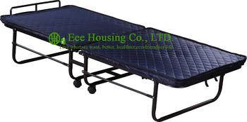 Hotel dodatkowe łóżko składane 6cm gąbka składane łóżka dla hotelu pokój gościnny jeden rozmiar roll away składane Hotel dodatkowe łóżko tanie i dobre opinie EH-J09 Commercial Furniture Single Hotel Folding extra bed Sponge mattress Iron frame wood headboard L195*W78*H43cm 20kg