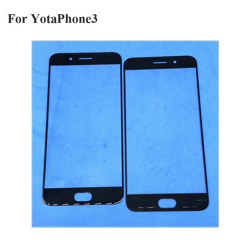 2PCS For YotaPhone3 Power Front LCD Glass Lens for Yota 3 YotaPhone 3 Touch screen Panel Outer Screen Glass without flex Yota3