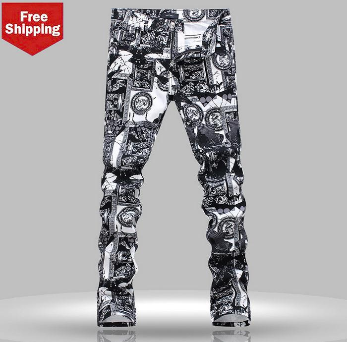 Black and white printing slim straight mens jeans brand little feet pants trousers high quality personalized new designer