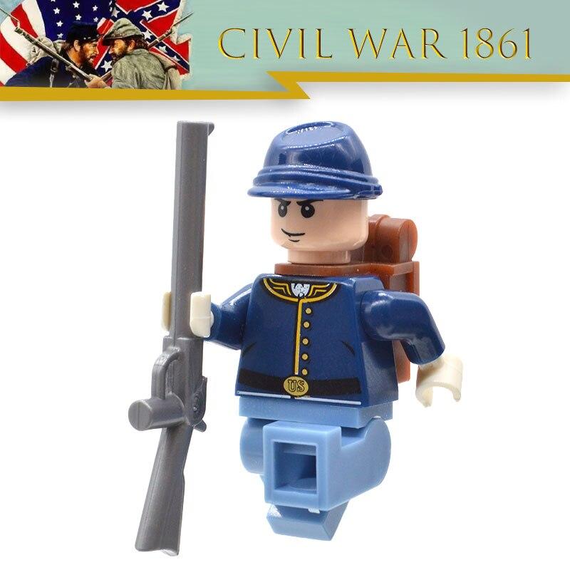 Lot limité de blocs de construction de MOC de guerre civile américaine soldat nord-américain de guerre révolutionnaire jouet pour enfants