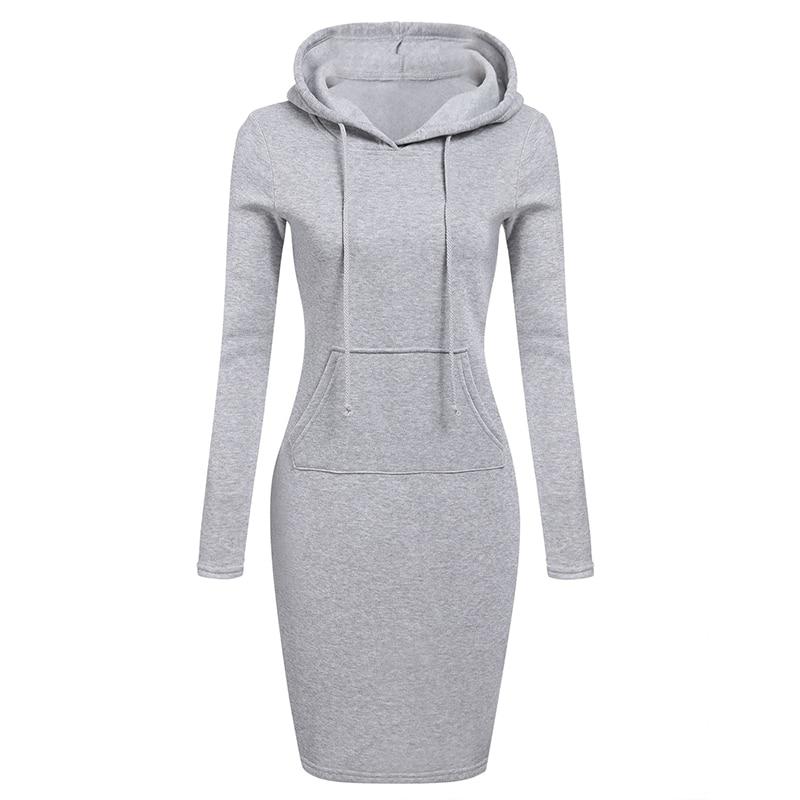 New Autumn Winter Warm Sweatshirt Dress Long-sleeved Woman Clothing Hooded Collar Pocket Design Simple Woman Dress Vestido