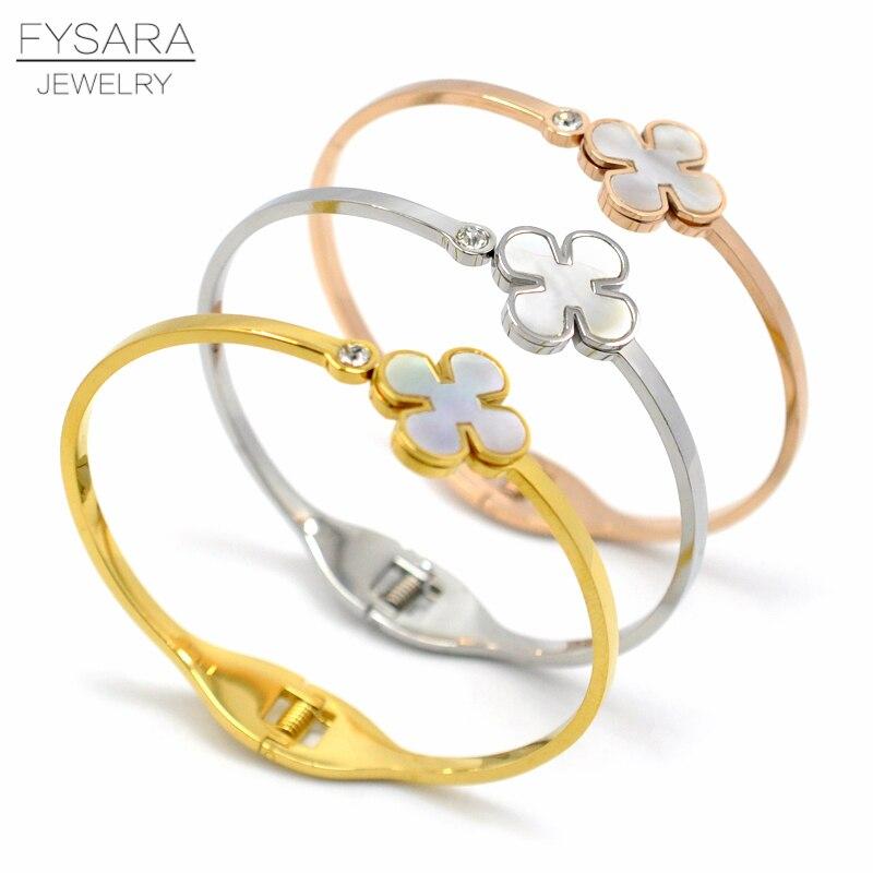 efea16a9b95 Pulsera y brazaletes de flores de concha de marca de lujo para mujer  joyería de acero inoxidable de Color oro rosa pulseras de regalo -  a.samuelk.me