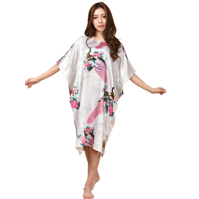 c252bf3a48 Hot Sale Chinese Women s Silk Sleepwear Robe Summer Lounge Home Dress  Printed Peacock Yukata Nightgown Plus