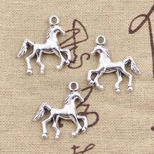 12 pçs encantos cavalo corcel 24x21mm antigo bronze prata cor pingentes fazendo diy artesanal tibetano bronze prata cor jóias