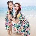 2016 Мода Лето Одежда Для Матери И Дочери Семья ПОСМОТРИТЕ Мать Дочь Платья