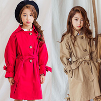 Baby Clothes Girls Windbreaker 2018 Fashion Autumn Cotton Single Breasted Kid Trench for Girl Sweet Bow Children Clothing 3th012