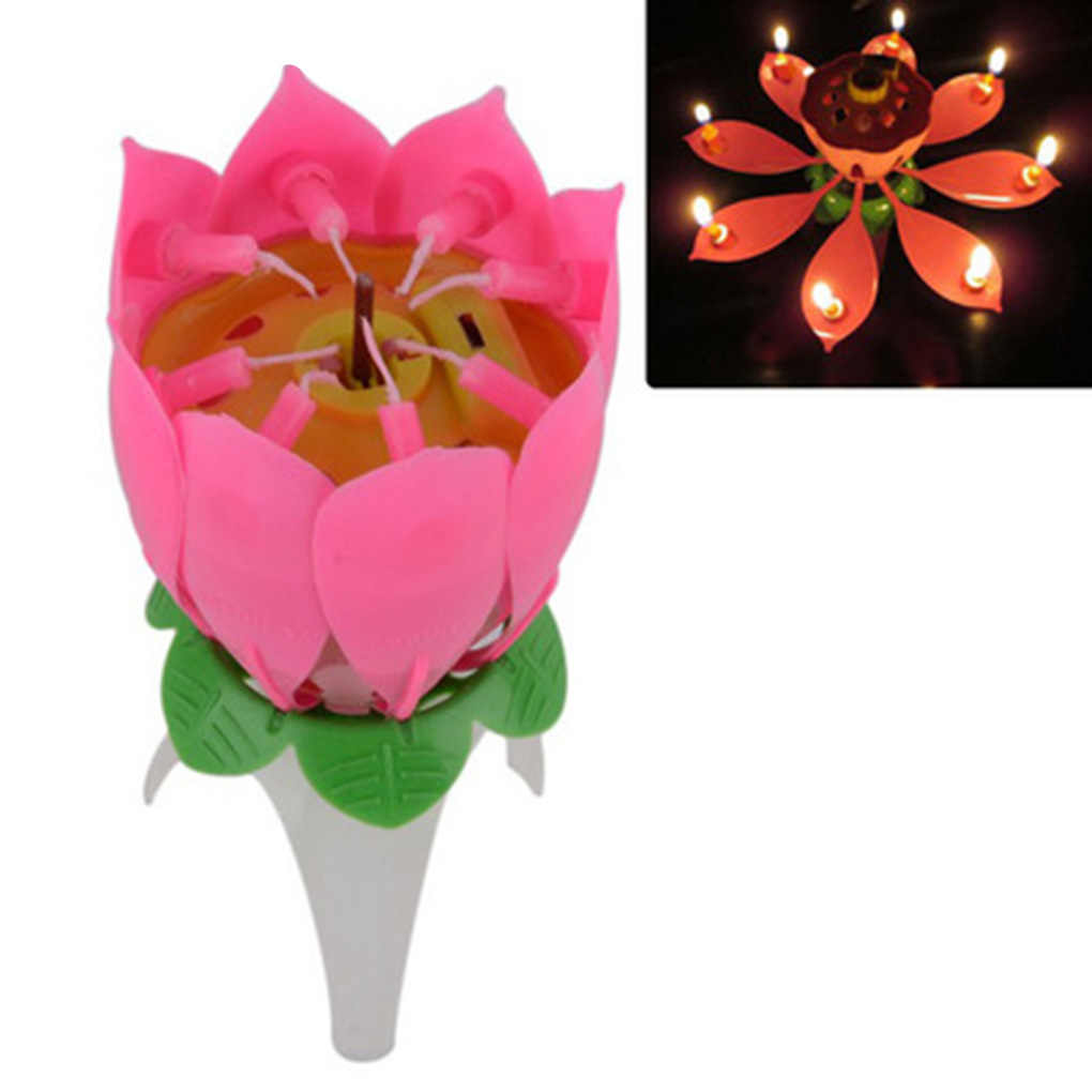 Birthday Candle Romantic Pink Will Bloom Beautiful Lotus Shaped Candle   Music Candle for Birthday Party Cake