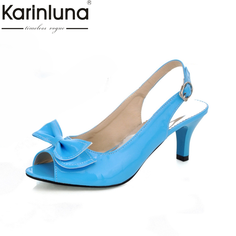 Karinluna 2018 Big Size 30-46 Peep Toe High Heels Summer Sandals Shoes Women Girls Date Shoes Woman