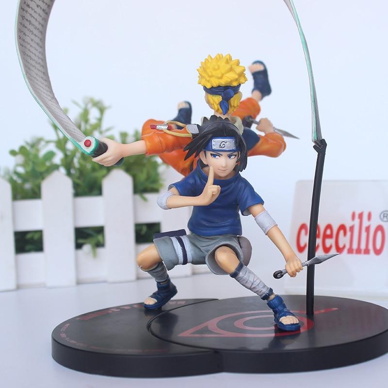 Anime NATUTO pvc Action Figure Naruto Uzumaki & Uchiha Sasuke Collection Toy Model 18cm naruto sasuke nendoroid action figure uchiha sasuke kawaii collection pvc action figure model toy gifts 10cm
