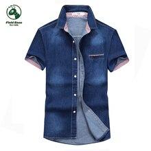 С коротким рукавом рубашки мужские джинсы летние мужские короткие рубашки БАЗА