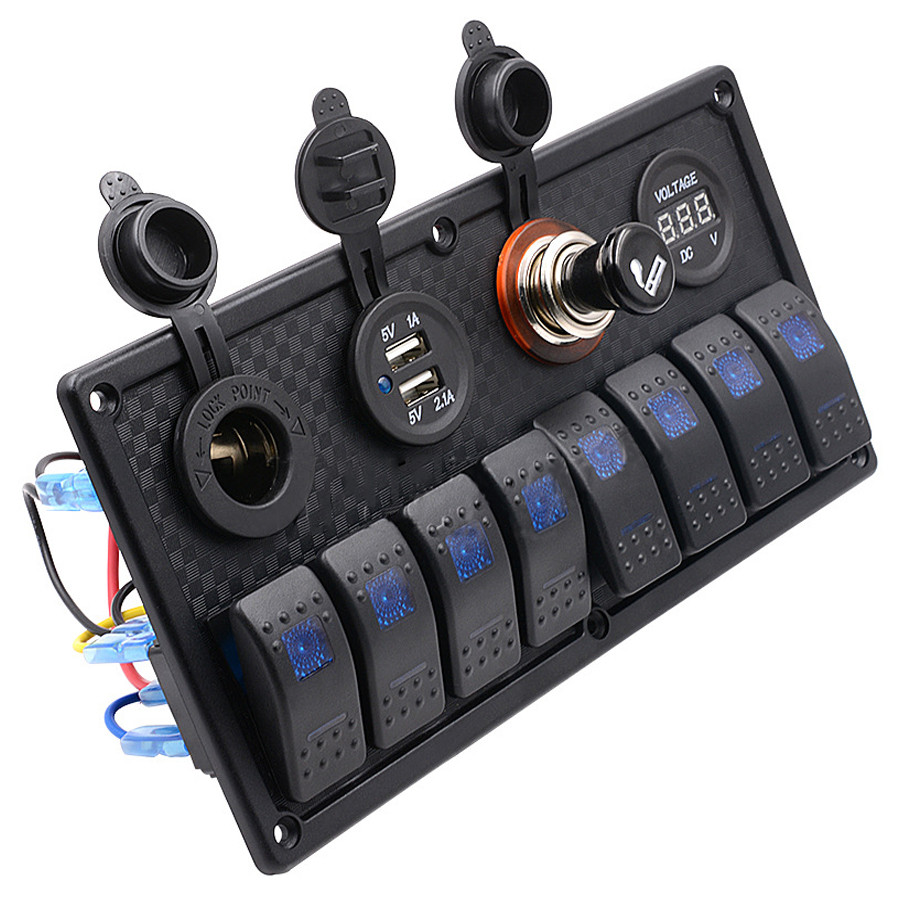 ФОТО Yacht Switch Panel Marine Boat Switches Waterproof Car Dual USB Charger Cigarette Lighter Socket RV Rocker Switch LED Voltmeter