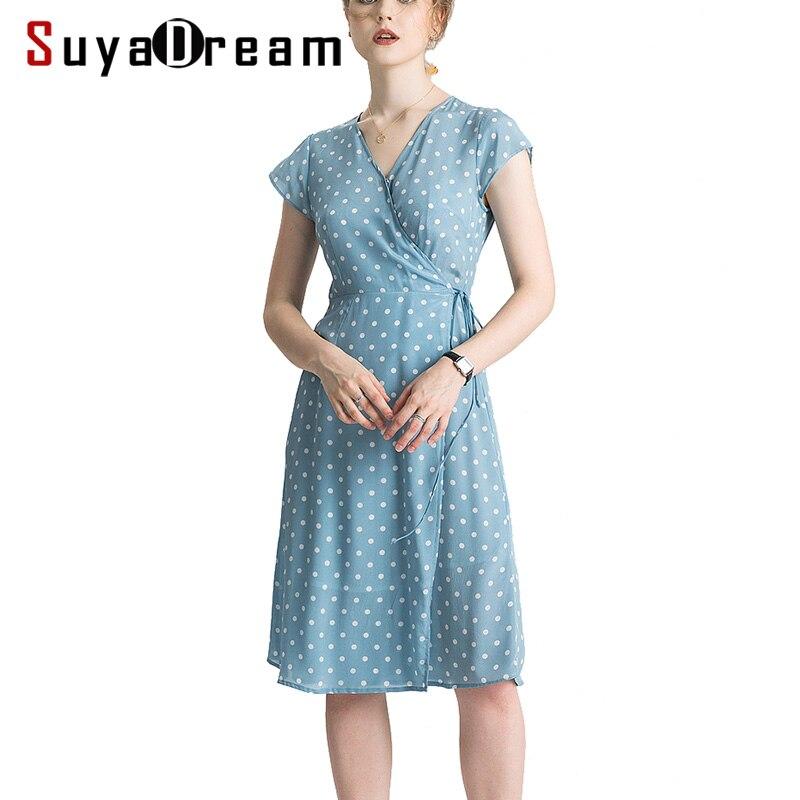 Frauen Silk Kleid 100% Echte Seide Crepe Punkte Druck Urlaub Kleider v ausschnitt Kurzarm Knielangen Blau Sommer Kleid 2019 neue-in Kleider aus Damenbekleidung bei  Gruppe 1