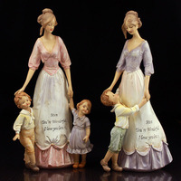European Retro Resin Mother Child Ornament Craft Home Table Mom Children Figurines Miniatures People Decoration Love Gifts Art
