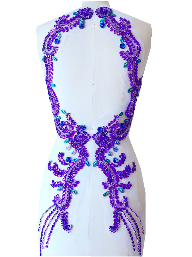 hand made PURPLE sew on Rhinestones applique on mesh crystal patches trim 69 17cmX2 for dress