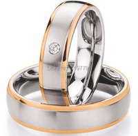 Custom Made 18k Rose Gold Plated Health Titanium Engagement Wedding Rings Sets For Couples