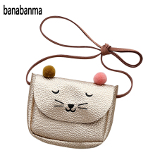 Banabanma Mini Cute Cat Ear Shoulder Bag Kids All-Match Key Coin Purse Cartoon Lovely Messenger Bag little girl present ZK30
