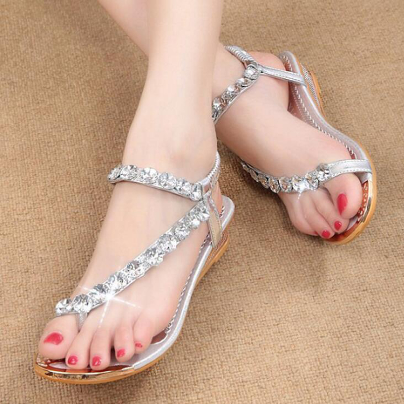 Women sandals 2018 new crystal fashion wedge solid sandals for women flat summer beach shoes women flip-flop sandals