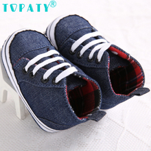 TOPATY Newborn 0-18M Baby Boys Shoes Denim plaid Canvas Sneakers lace-up Soft Sole Toddler Shoes zapatos