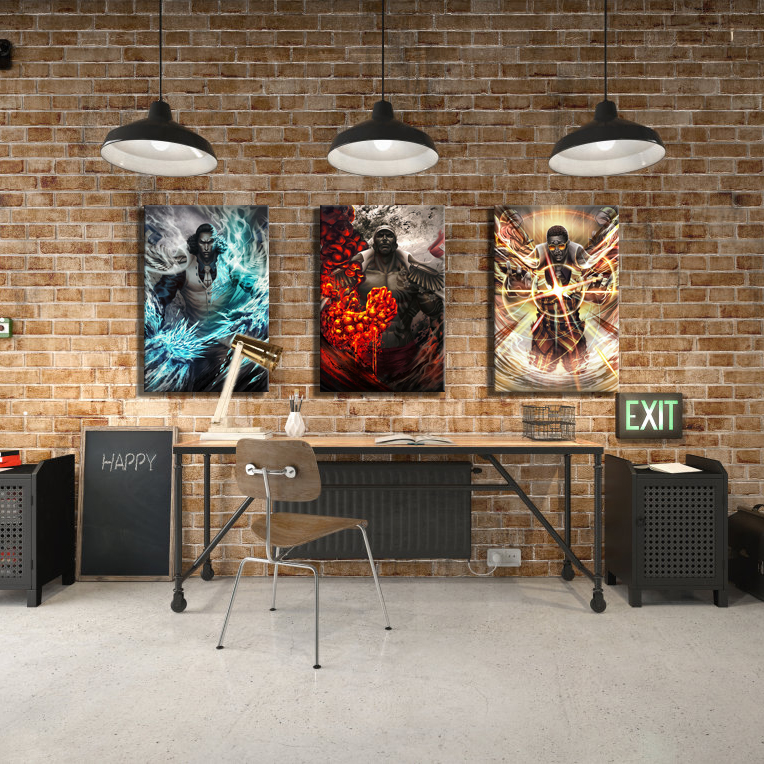 With Frame 3 Piece HD Picture Navy Headquarters Senior General ONE PIECE Anime Poster Canvas Painting for Home Decor Wall Art 3